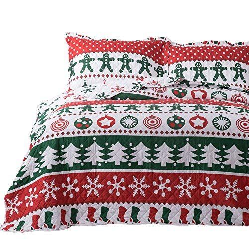 Bedsure Christmas Quilt Set Twin Size (68x86 inches) - Gingerbread Man Pattern - Soft Microfiber Lightweight Coverlet Bedspread for All Season - 2-Piece Bedding (1 Quilt + 1 Pillow Sham) (Duvet And Quilt)