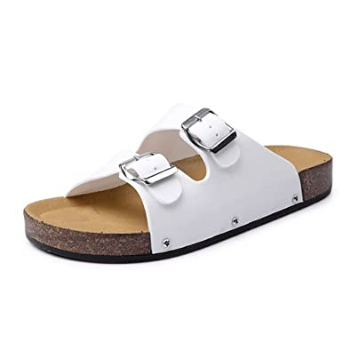 1d998a461bbee MIRRAY Flip Flops Men Holiday Summer Open Toe Imitation Leather Casual Beach  Chic Flat Sandals Slippers Beach Shoes Pool Double Breasted Slides: ...