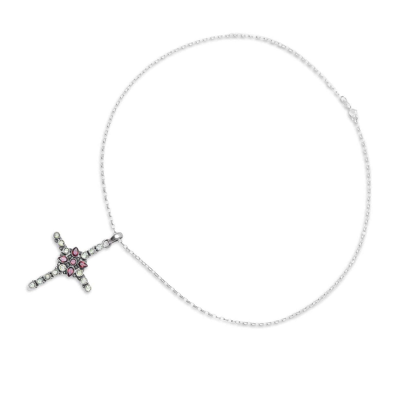 18 NOVICA Multi-Gem Peridot .925 Sterling Silver Pendant Necklace Glistening Cross