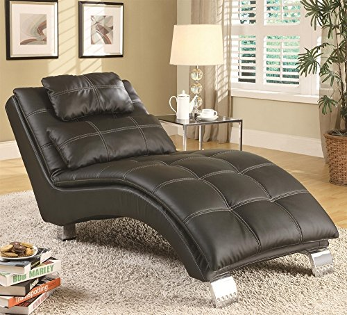 Coaster Home Furnishings Dilleston Pillow Top Chaise - Black Faux Leather