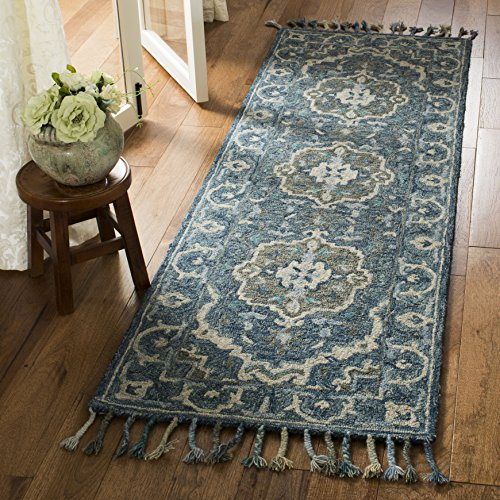 Safavieh Aspen Collection APN230A Dark Blue and Grey Premium Wool Runner 2 3 x 7