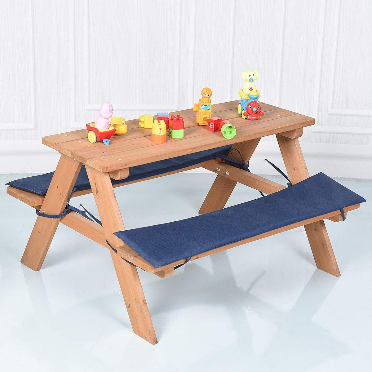 Custpromo Kids Wooden Table Bench Set with Cushion, Outdoor Table and Bench Set