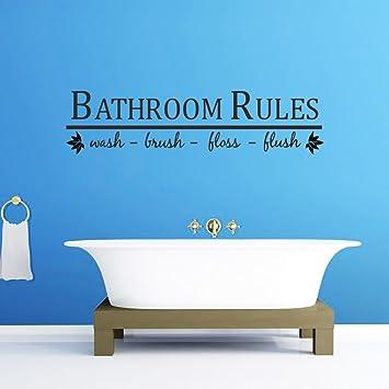 decalmile Wandtattoo Zitate und Sprüche Bathroom Rules ...