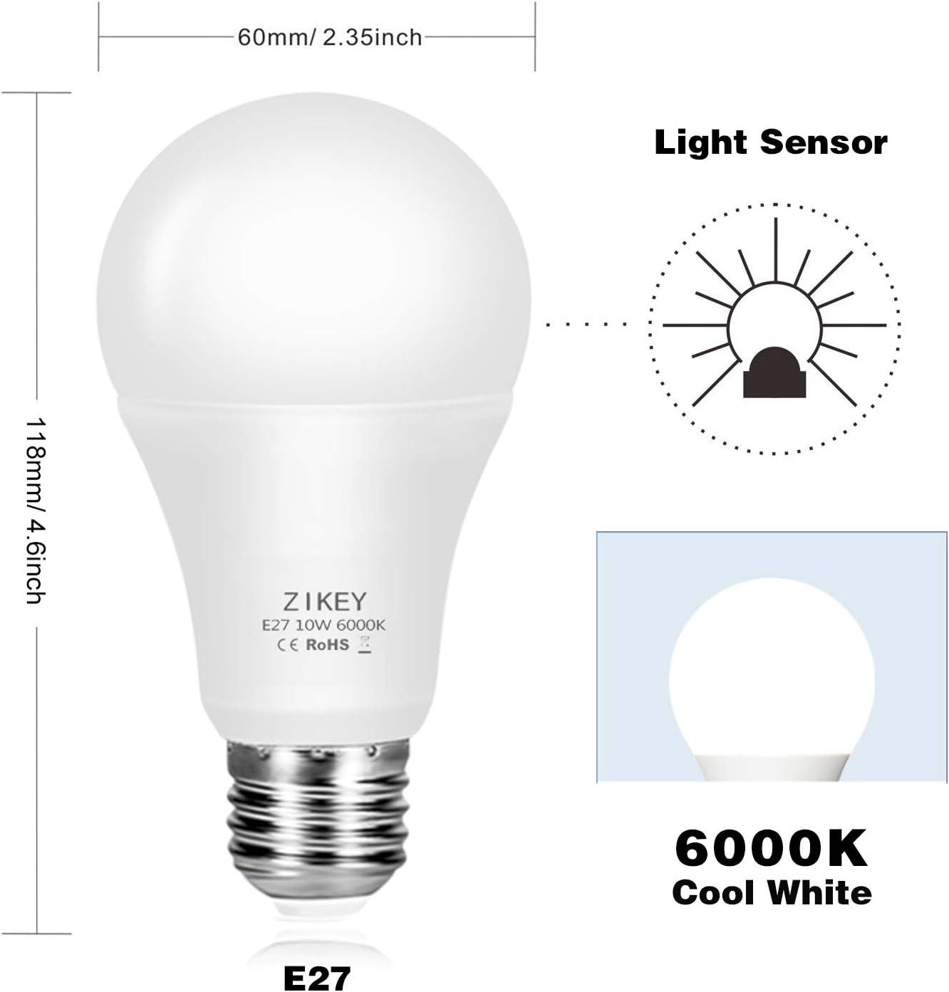 ZIKEY Bombilla Sensor Crepuscular, E27 10W Bombilla Led de Luz ...