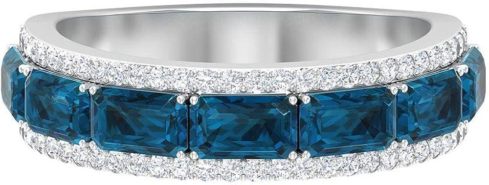 Anillo único de boda ancho, 2,8 ct 5 x 3 mm, anillo de topacio azul Londres, anillo de diamantes HI-SI 1/4 ct, anillo de piedra natal de diciembre, anillo de eternidad, regalo de aniversario, 14K Oro