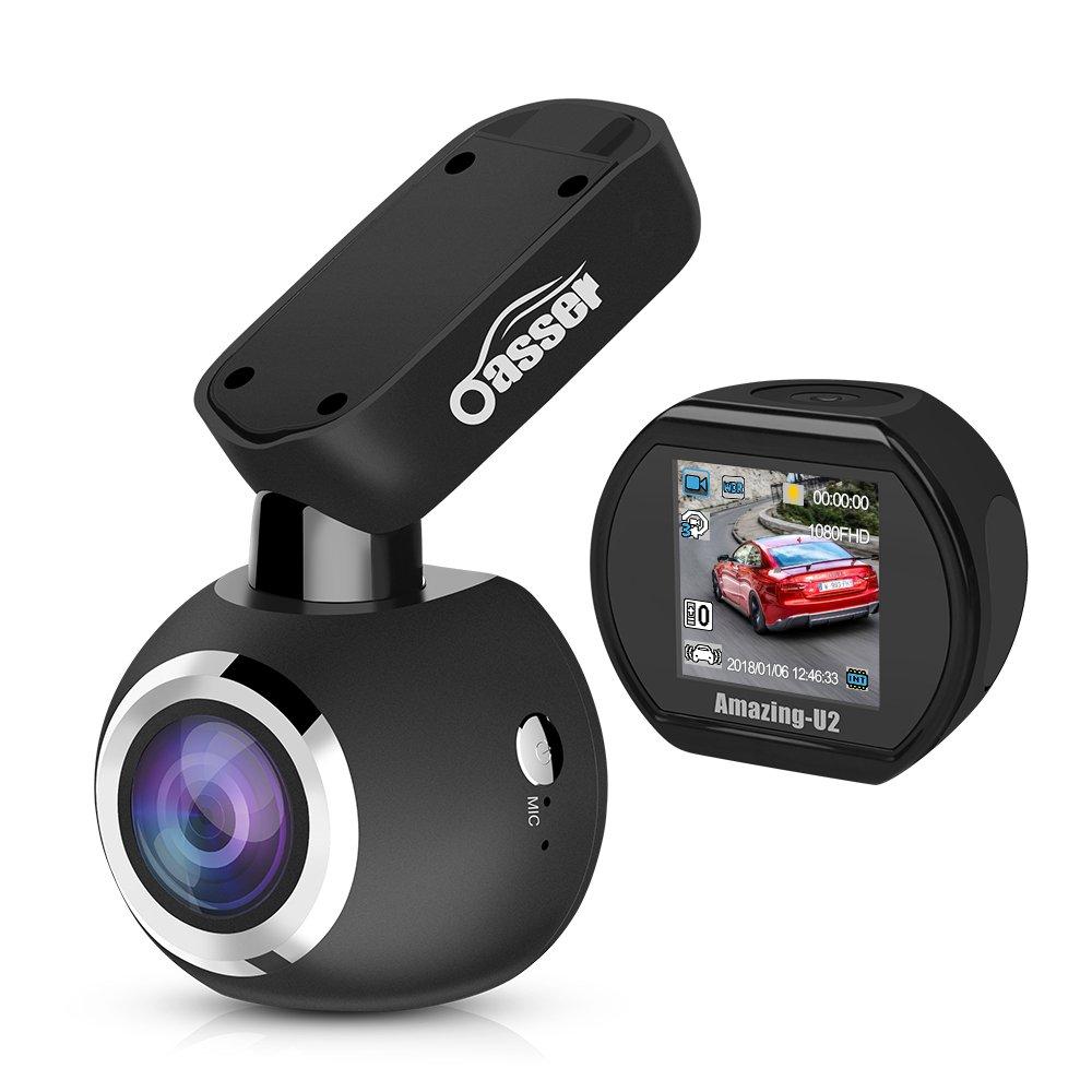Dash Cam Oasser Full HD 1080P Dashboard Camera for Cars Car Dash Cam Car Camera Driving Recorder Mini 170° Angle with Sony IMX323 Sensor Super Night Vision G-Sensor Loop Recording U2