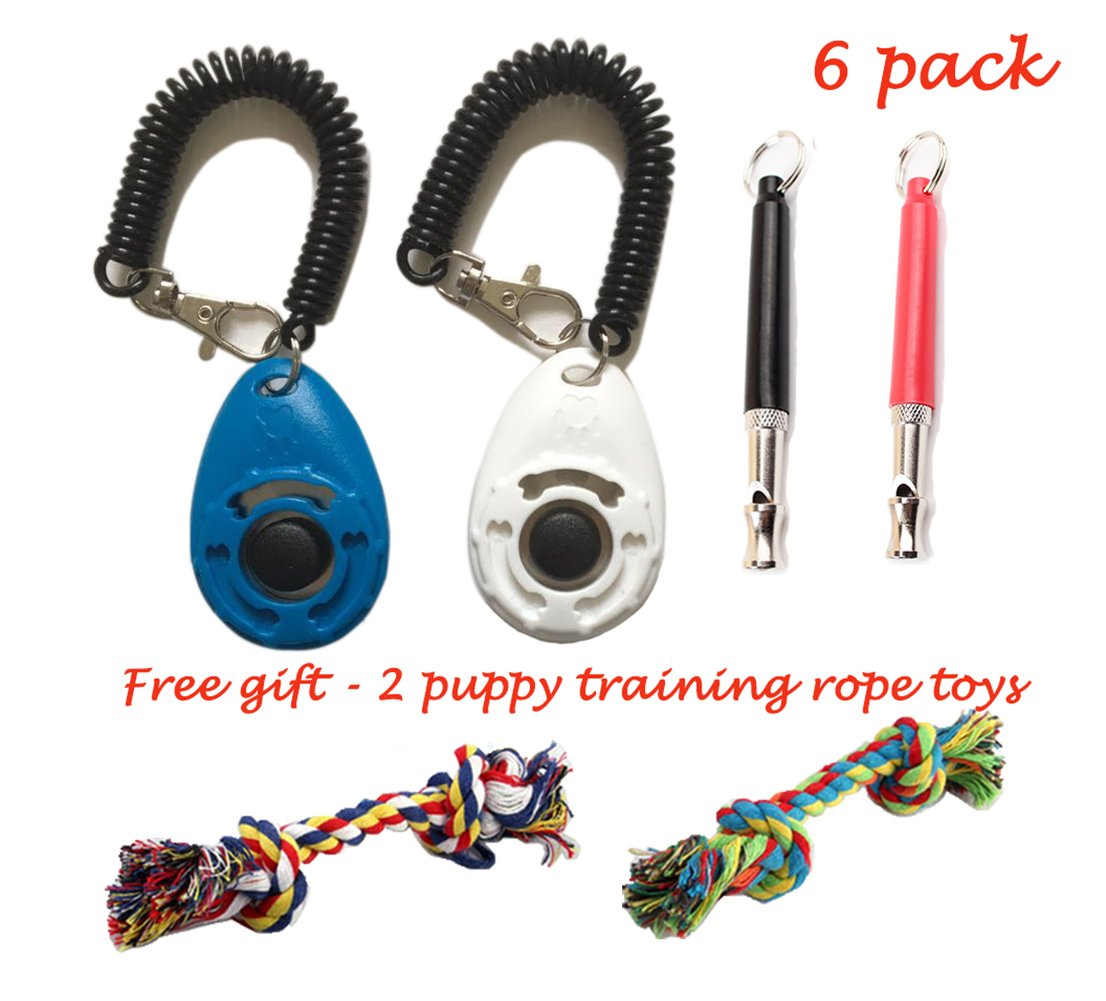 Dog Training Clicker with Wrist Strapand Dog Whistle to Stop Barking Free Gift - 2 Puppy Rope Toys YYVIGO