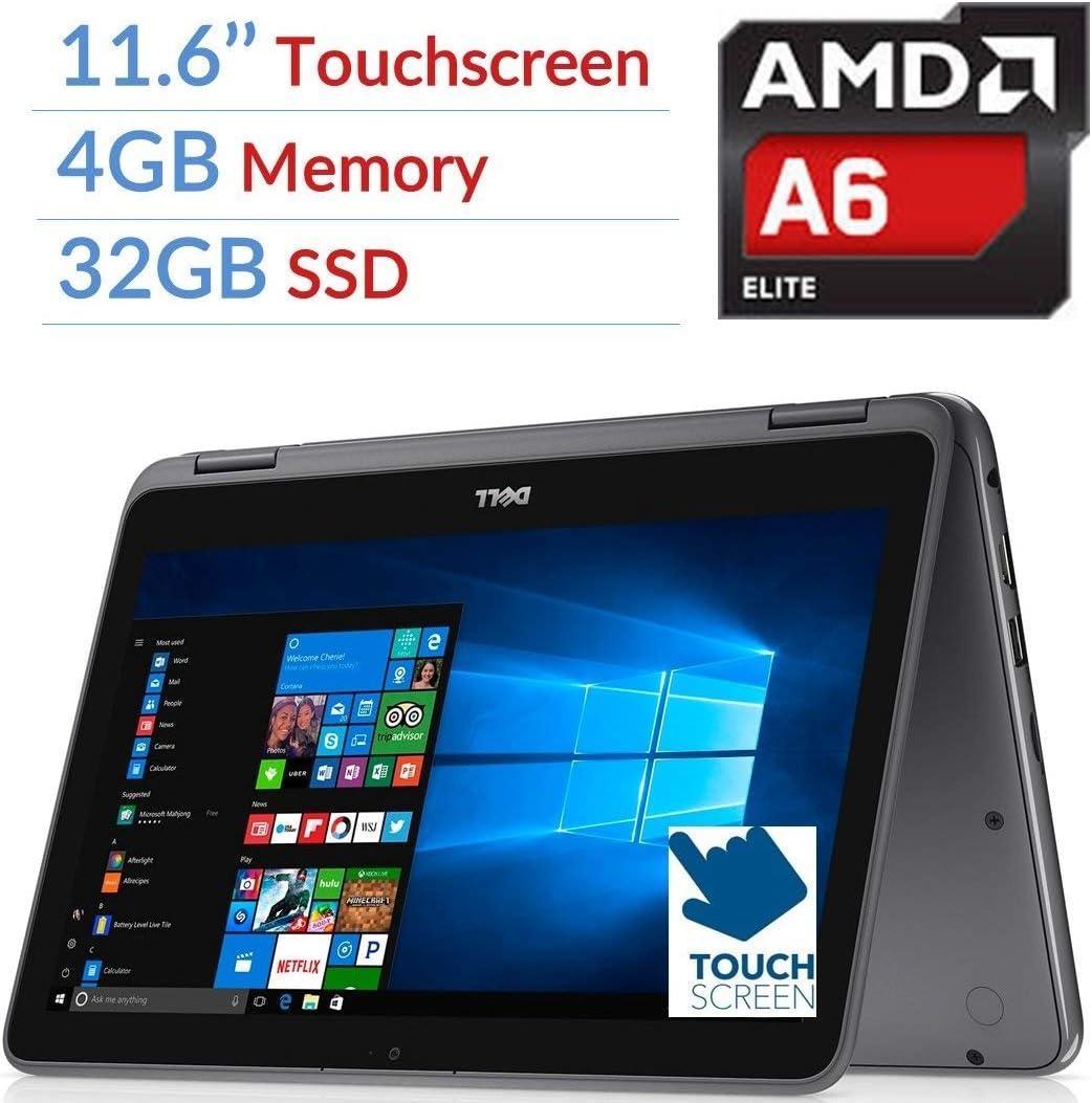 Newest Dell Inspiron 3000 11.6 inches 2-in-1 Touchscreen Laptop/Tablet, 7th Gen AMD A6-9220e 2.5GHz Processor, 4GB DDR4, 32GB SSD, Bluetooth, Wifi, MaxxAudio, Windows 10 (Renewed)