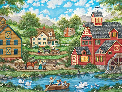 MasterPieces Heartland Swan Pond Jigsaw Puzzle by Bonnie White, 550-Piece