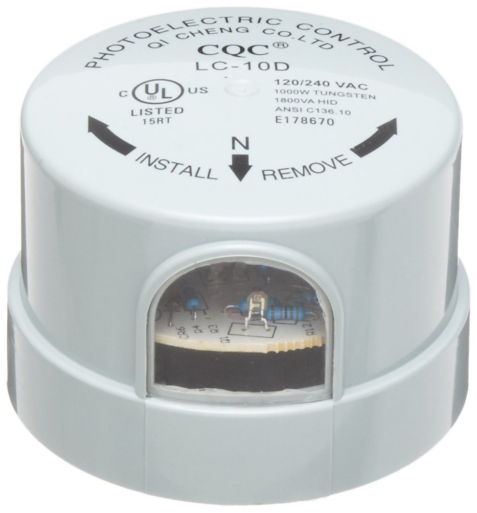 Morris Products 39052 Photocontrols Locking Type, 1000W Tungsten Rating, 1800 (VA) Ballast Rating, 105-305 Voltage