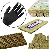 "Grodan 1""x1"" Inch A OK Starter Plugs Cubes Count Stone Rockwool Grow Media Propagation W/ THCity Lightning Gloves- Quantity 25"