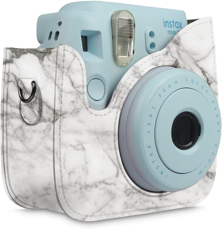 Mini 9 Instant Camera Premium Vegan Leather Bag Cover with Removable Strap Fintie Protective Case for Fujifilm Instax Mini 8 Mini 8 Vintage Brown