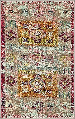 Vintage Modern and Traditional Rugs -Feet Troezen Collection Area Rug (2' x 3'-Feet, Pink, Beige, Blue, Gold, Green, Orange, Purple, Red)