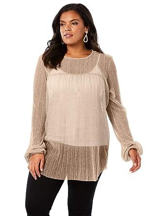 3b82fcd324a48 Roamans Women s Plus Size Pleated Metallic Top at Amazon Women s Clothing  store