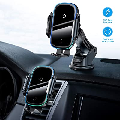 Wireless Car Charger,15W Qi Fast Charging Auto-Clamping Car Mount,Windshield Dash Air Vent Phone Holder Compatible iPhone 11/11 Pro/11 Pro Max/Xs MAX/XS/XR/X/8/8+,Samsung S10/S10+/S9/S9+/S8/S8+: Home Audio & Theater