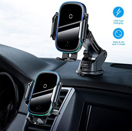 Wireless Car Charger,15W Qi Fast Charging Auto Clamping Car Mount,Windshield Dash Air Vent Phone Holder Compatible iPhone 1111 Pro11 Pro MaxXs