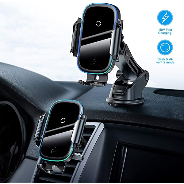 CICMOD Wireless Car Charger Mount 360/°Rotation Automatic Sensor QI Fast Charging Air Vent Windscreen Phone Holder 2 in 1