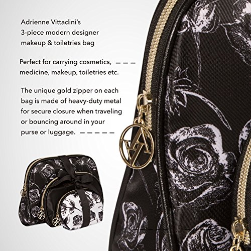 Adrienne Vittadini Cosmetic Makeup Bags: Compact Travel Toiletry Bag Set in Small, Medium and Large for Women and Girls - Black and Brown Leopard by ADRIENNE VITTADINI (Image #3)