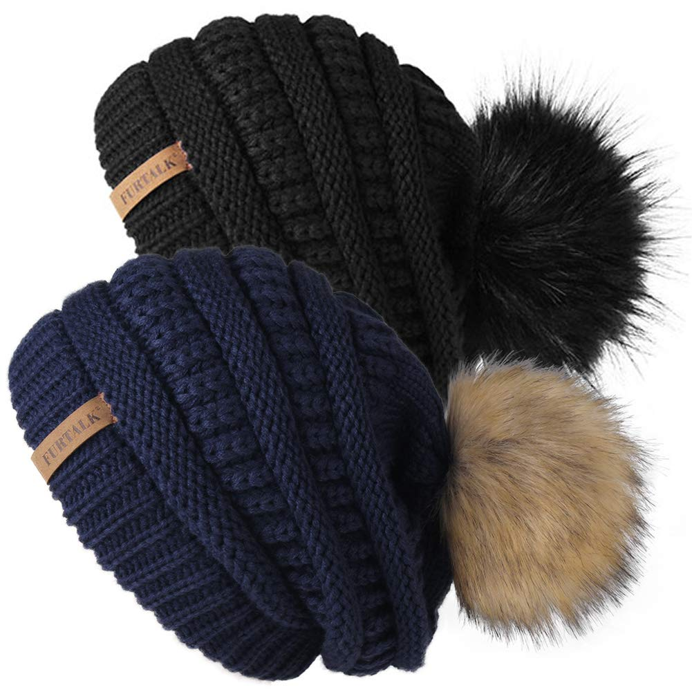 FURTALK Womens Winter Knit Beanie Hat Skull Cap Slouchy Beanie Pom Pom Hats for Women by FURTALK