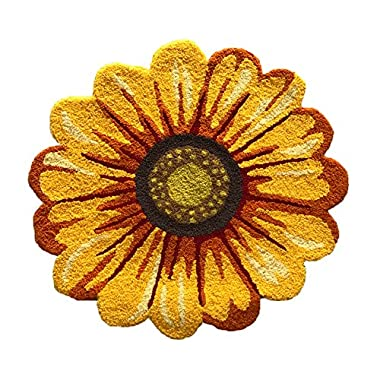 MeMoreCool Handmade Needlepoint Sunflower Acrylic Area Rugs Bedroom/Living Room/Bathroom/Kitchen Home Decoration Carpet Washable Anti-slip Mats Indoor and Outdoor Welcome Rugs Yellow 25.59 by 25.59 Inch