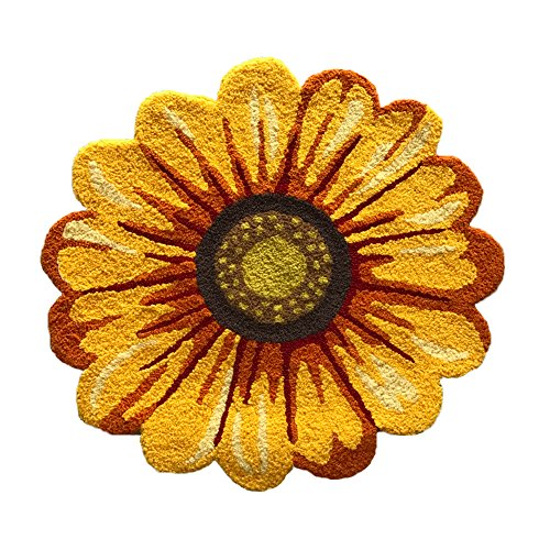 MeMoreCool Handmade Needlepoint Sunflower Acrylic Area Rugs Bedroom/Living Room/Bathroom/Kitchen Home Decoration Carpet Washable Anti-slip Mats Indoor…