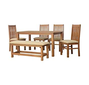 cb9aa08acda  home by Nilkamal Roosey Six Seater Dining Bench Set (Walnut)  Amazon.in   Home   Kitchen