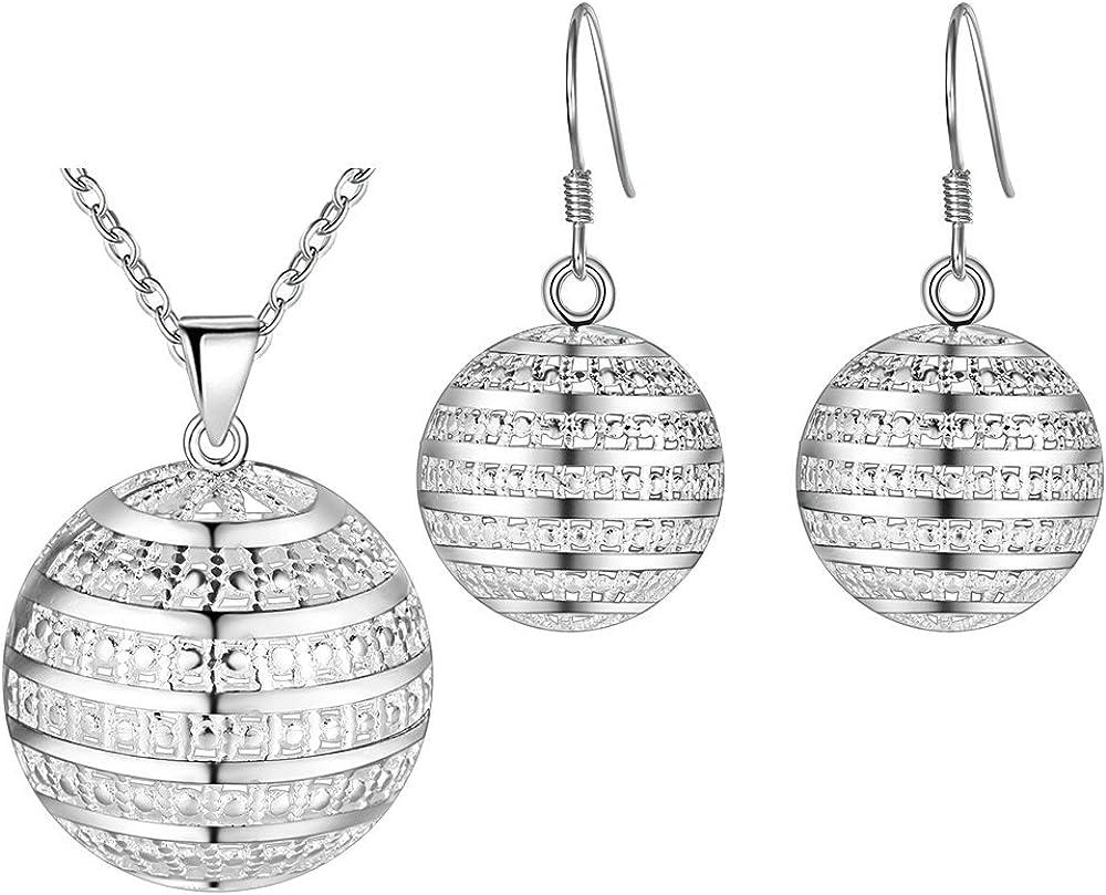 Onefeart Plata Esterlina Collar Colgante Aretes Juego de Joyas por Mujer Hueco Hemisphere Regalos de Boda