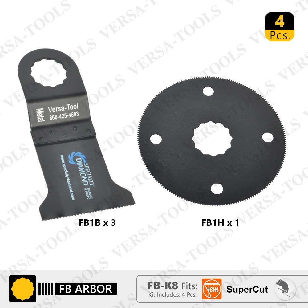 Versa Tool FB-K8 Pack of 4 Oscillating Saw Blades - FB3B Bi-Metal & FB1H Circular Oscillating Saw Blade Set Fits Fein Supercut