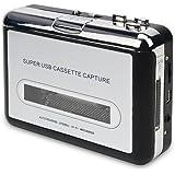 DIGITNOW! USB Convertidor y reproductor de cinta casetes ,Convertir audio cassette a MP3 digital ,para grabar cassette a mp3 en Windows o Mac