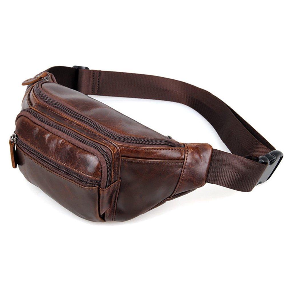 MuLier Vintage Men's Leather Fanny Pack Bum Bag Waist Sling Bag WB0006-Coffee