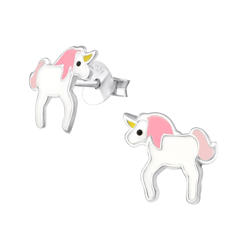 7 dise/ños a elegir. Pendientes de unicornio de plata de ley