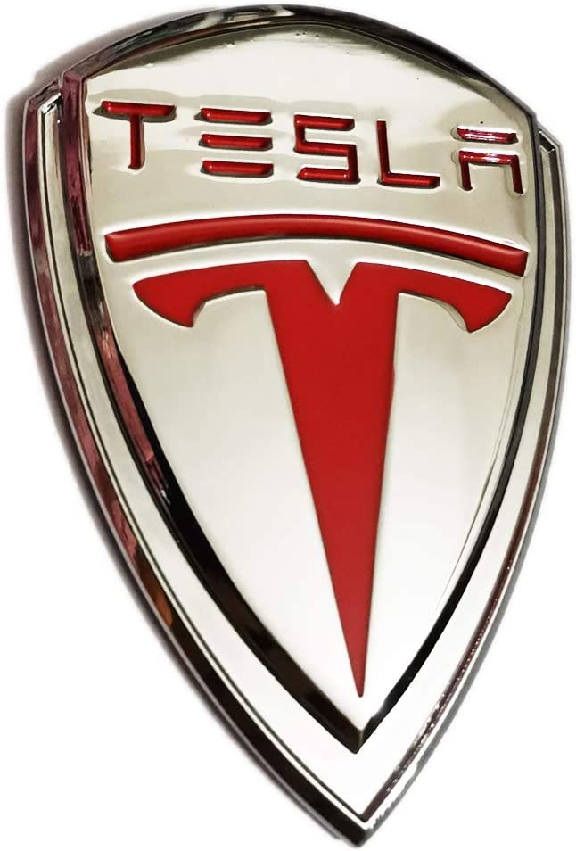TK-KLZ 3D Metal Car Side Fender Rear Trunk Emblem Sticker Badge Decals for Tesla Roadster Model S Model X Model 3 TESLASUV Decorative Accessories (Silver)