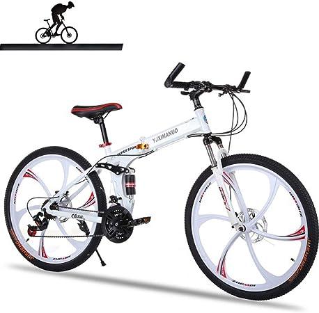 KOSGK Bicicleta MontañA con SuspensióN Completa, Cuadro Aluminio, 21 Velocidades, Bicicleta 26 Pulgadas, Blanco: Amazon.es: Hogar