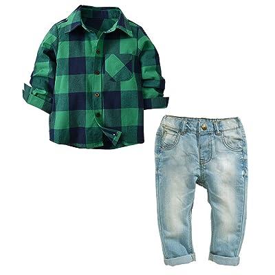 Borlai Green Plaid Shirt Baby Little Boys Girls Long Sleeve Button Down Shirt and Denim Pants Jeans Set: Clothing