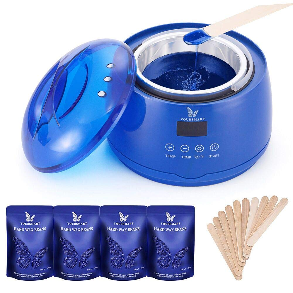 YOURSMART Wax Warmer Hair Removal Waxing Kit for Women and Man Eyebrow, Face, Facial, Leg, Armpit, Bikini, Brazilian - Include 400g Hard Wax Beans & 20pcs Applicator Stick (Touch Screen)