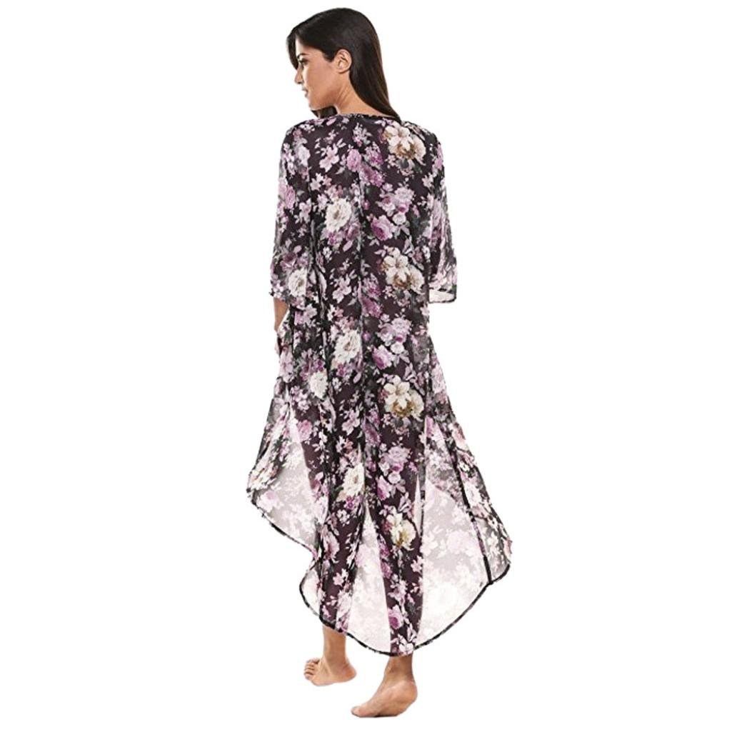 Coromose Women Chiffon Casual Floral Kimono Loose 3/4 Sleeves Shawl Long Cardigan Coromose 1569