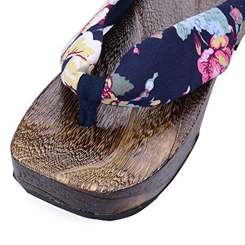 Style Flip Sandals Slippers Flops Japan Clogs Blue Jiyaru Geta Women's Wooden wzF5EH