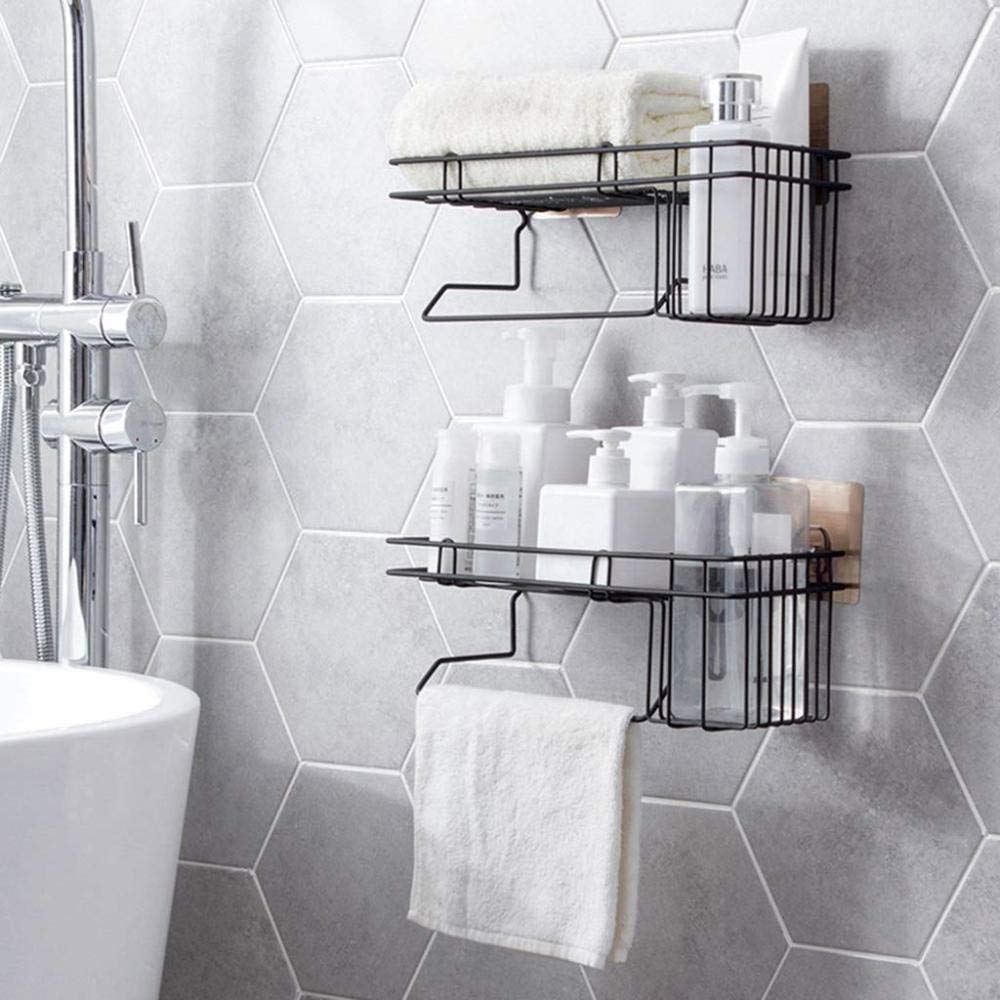 shadiao Home Shelves//Shelving Unit//Wall-Mounted Rack Iron Art Towel Rack Bathroom Punch Free Waterproof Storage