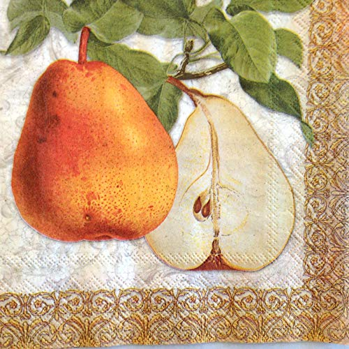 - Punch Studio 40 Ct Paper Beverage Cocktail Party Napkins, Harvest Pear Botanical
