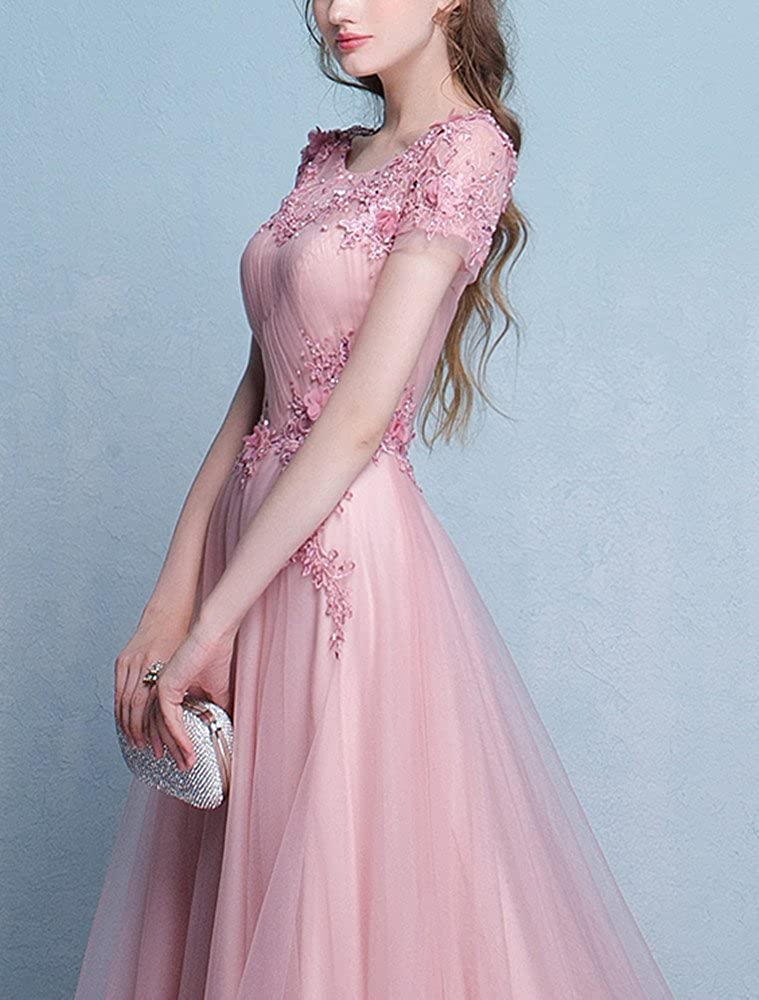 98f2a587468 LeoGirl Womens Floral Lace Embellished Tulle Long Prom Dresses with Sleeves  Gala Evening Formal Gown at Amazon Women s Clothing store