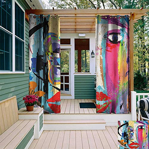 (leinuoyi Art, Porch Curtains Outdoor Waterproof, Contemporary Paint Strokes Splashes Face Mask Paint Kiss Graffiti Grunge Creative Theme, Set for Patio Waterproof W72 x L96 Inch Multicolor)