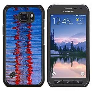 LECELL--Funda protectora / Cubierta / Piel For Samsung Galaxy S6Active Active G890A -- Cristal Red Winter Refracción Modelo azul --