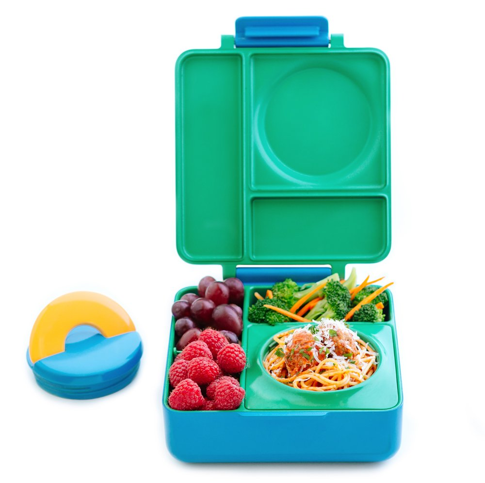 OmieBox Bento Lunch Box With Insulated Thermos For Kids, Meadow