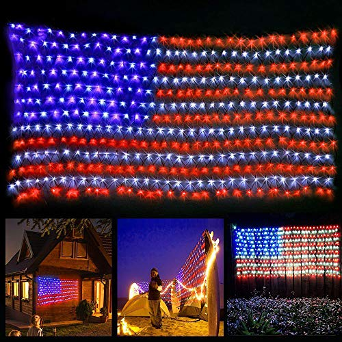 YULIANG LED Flag Net Lights of The United States,6.5ft3.2ft Waterproof American Flag Light for Independence Day,Memorial Day, Festival, Garden,Indoor and Outdoor Decoration -