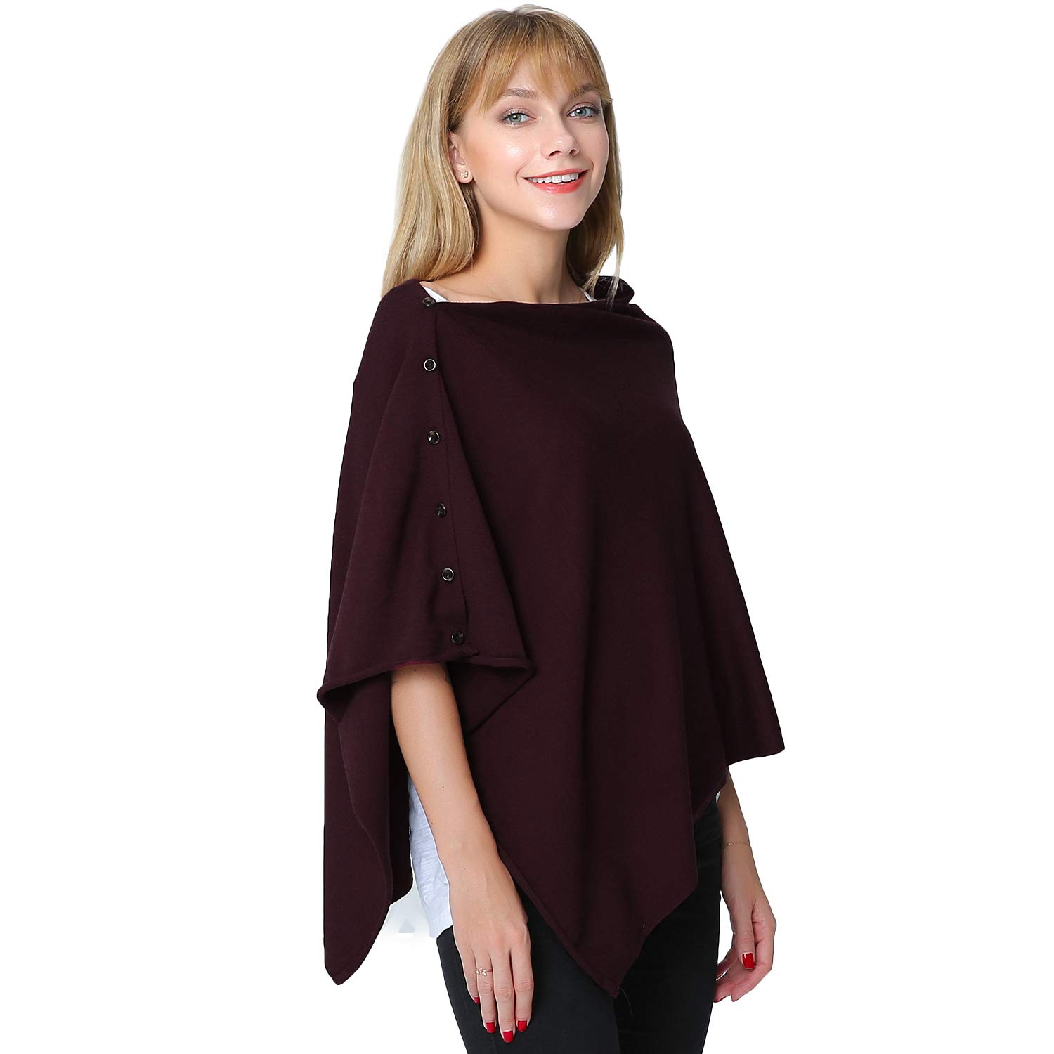 PULI Women's Versatile Knitted Scarf with Buttons Shawl Poncho Cape Cardigan, Burgundy