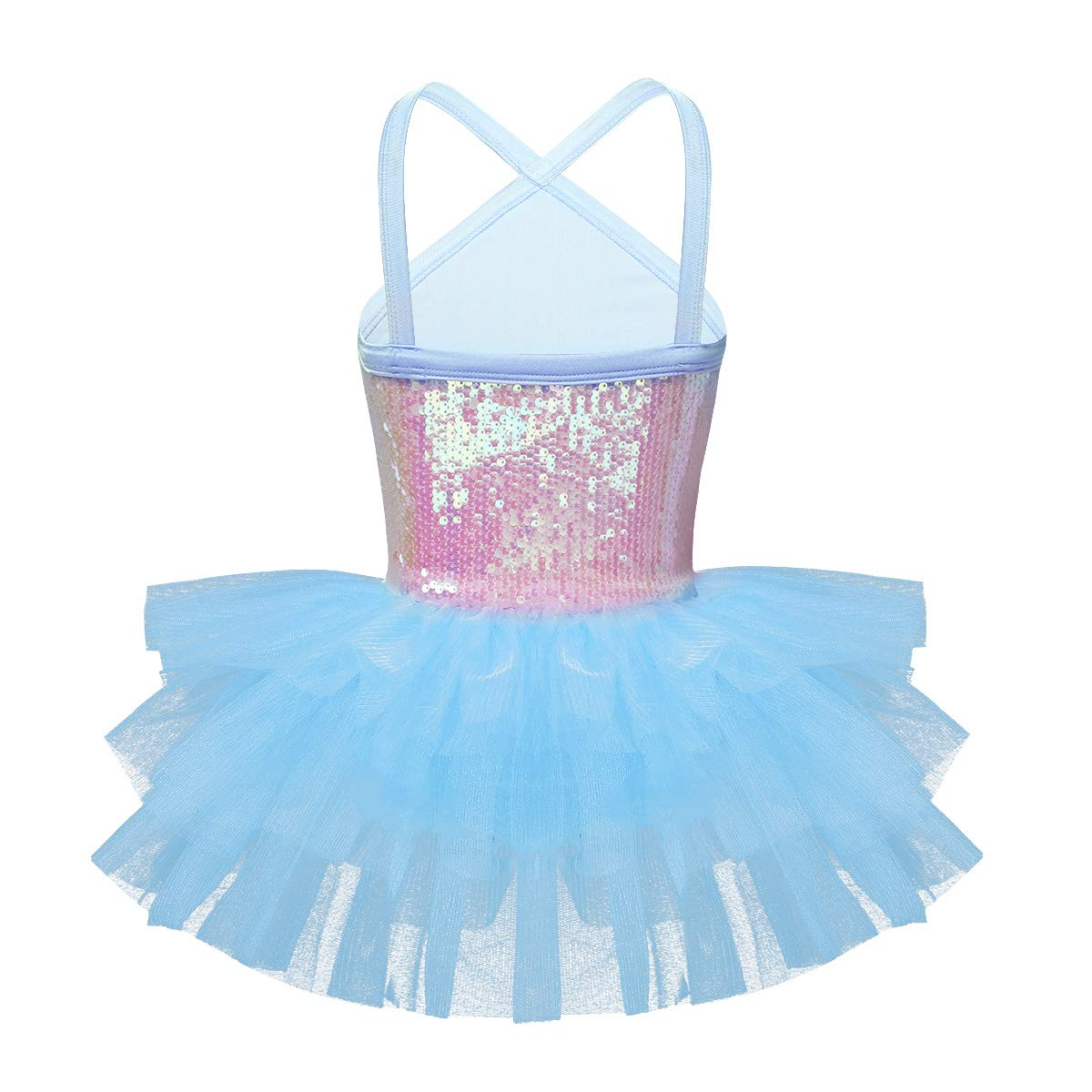 Freebily M/ädchen Ballettkleid Pailletten Ballettanzug Prinzessin Mesh Tanzkleid B/ühne Ballerina Tutu Kleid in Rosa Lavendel Blau Wei/ß Orange