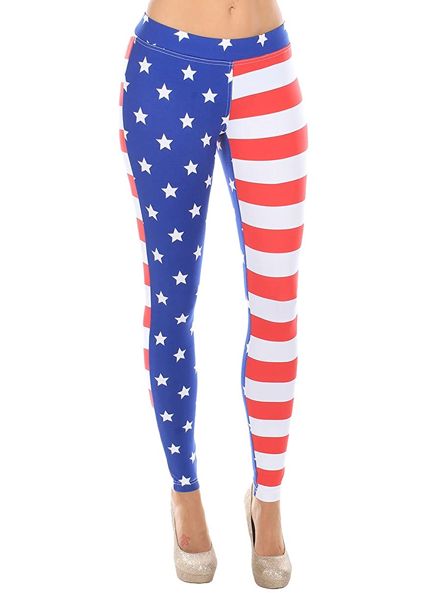 7dd0a5736402e Tipsy Elves USA American Flag Leggings - Women's Patriotic Stretch Pants at  Amazon Women's Clothing store: