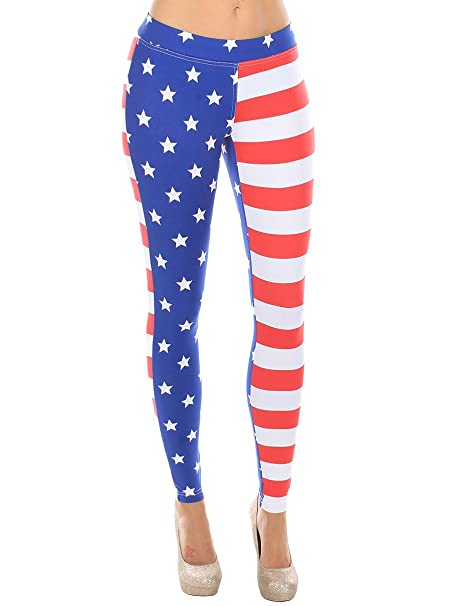 4ba0cb277c80 Tipsy Elves USA American Flag Leggings - Women s Patriotic Stretch ...
