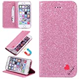 """Stysen Glitter Wallet Case for iPhone 8 4.7"""",Flip Stand Function Cover for iPhone 7 4.7"""",Luxury Noble Shiny Bling Love Heart {Be Loved} Design Ultra Slim Fit Pu Leather Card Slots Folio Kickstand Case Cover for iPhone 7 / 8 4.7""""-Pink"""
