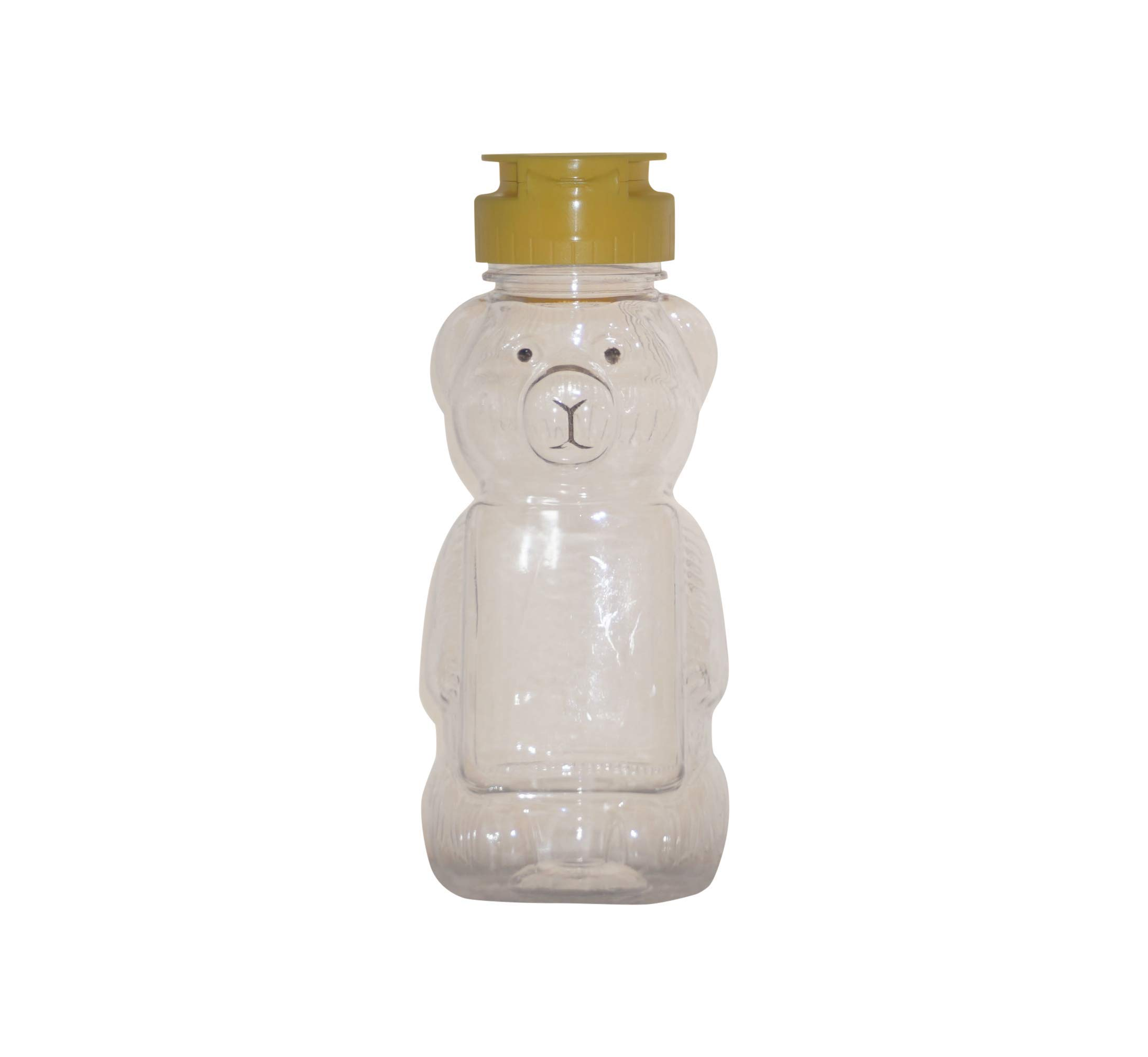 WM (Set of 24) 8 fl oz (12 oz of honey) Refillable, Reusable, Empty Clear PET Honey Bear Plastic Bottles w/ Yellow Flip Top Lined Caps. Used for Honey, Juice, Arts & Crafts and More